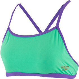 speedo ElectricStripe Allover Tie-back Crop-top Bikinit Naiset, green glow/ultra violet